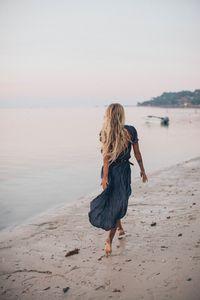 Плажно облекло 2 - синя рокля